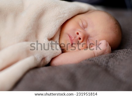 sweet and calm sleeping newborn - stock photo