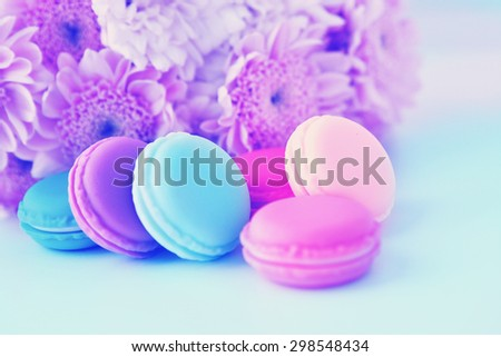 Sweet and colourful french macaroons  for Valentines day or Mothers day.  Retro vintage instagram filter - stock photo