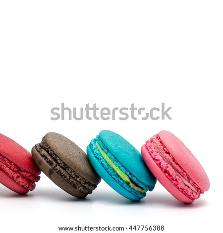 Sweet and colourful french macaroons on white background, Dessert.