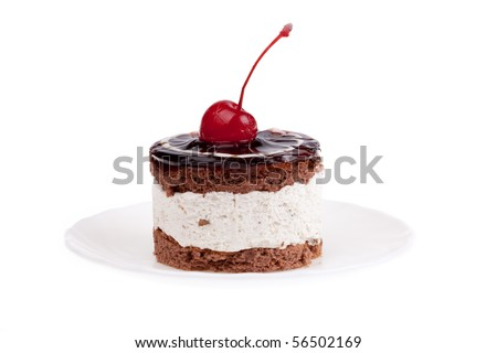sweet and nourishing cake with cherry - stock photo