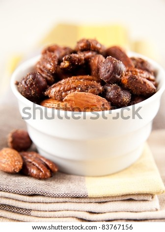 Sweet and Spicy Nut Mix - stock photo