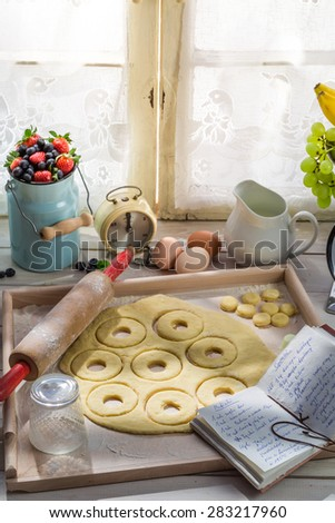 Sweet and tasty donuts made of fresh ingredients - stock photo