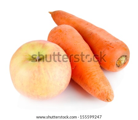 Sweet apple and carrots isolated on white