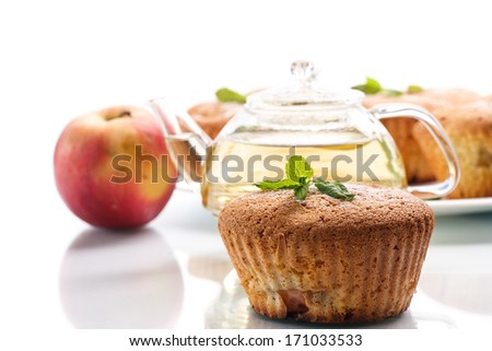 sweet apple muffins on a white background