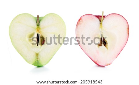 Sweet apples in shape of hearts, isolated on white