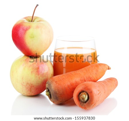 Sweet apples, juice and carrot isolated on white