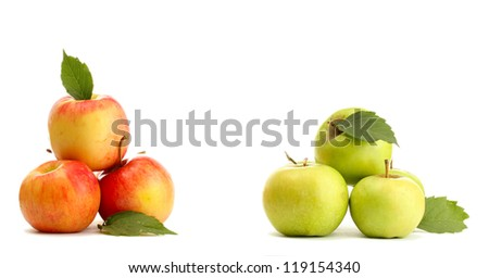 sweet apples with leaves, isolated on white - stock photo