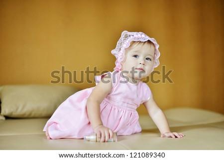 sweet baby on the sofa - stock photo