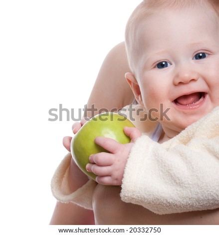 sweet baby portrait with apple on mother hands - stock photo