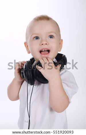 sweet baby with headphones portrait
