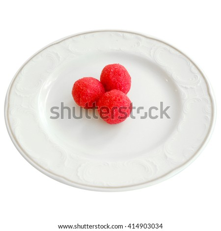 Sweet balls on a white plate