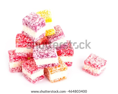 Sweet beautiful dessert on a white background.
