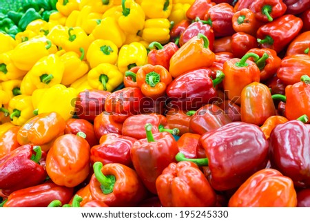 sweet bell peppers at thailand market natural background - stock photo