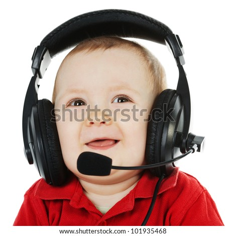 sweet boy with headphones and mic