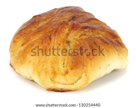 sweet bread bun on a white background