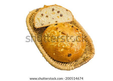 Sweet bread in a basket isolated on a white background. - stock photo