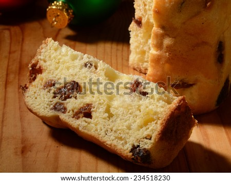 Sweet bread panettone, a traditional European food for Christmas and New Year