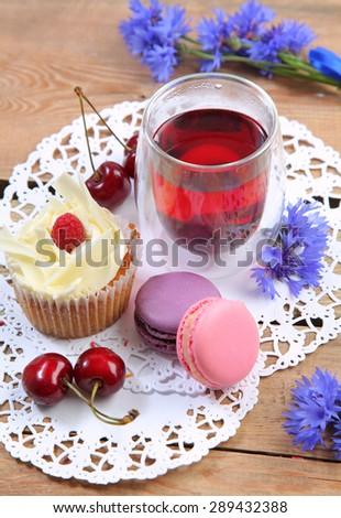 sweet breakfast on wooden table - stock photo