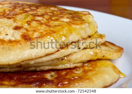Sweet breakfast pancakes also known as drop scones, griddle scones and scotch pancakes.