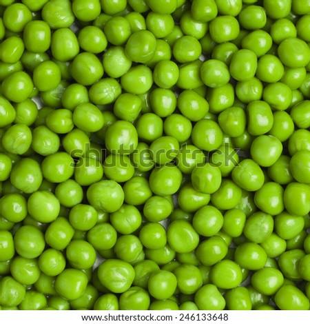 sweet bright green fresh peas square background - stock photo