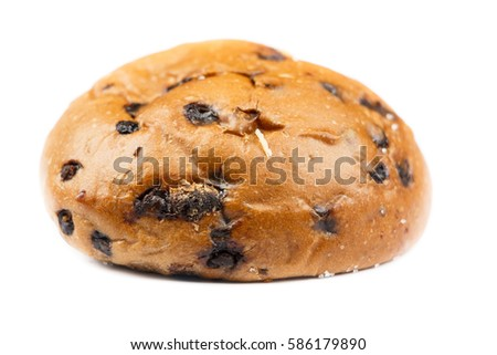 Sweet Bun And Chocolate Bread Isolated On White Background