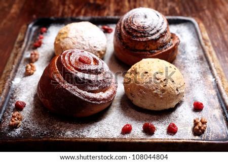 Sweet buns baking - stock photo