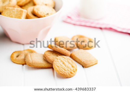 Sweet butter biscuits. Cookies on white table.