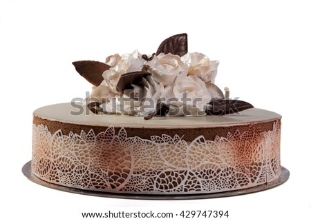 Sweet cake isolated on white background with shadow