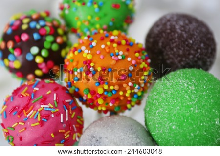 Sweet cake pops in vase close-up - stock photo