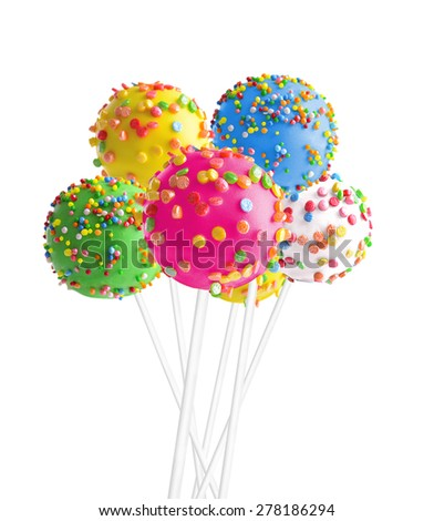 Sweet cake pops isolated on white - stock photo