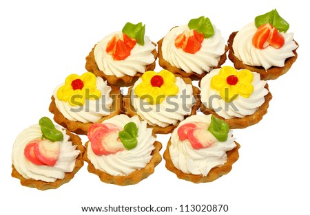 sweet cake with cream isolated on white