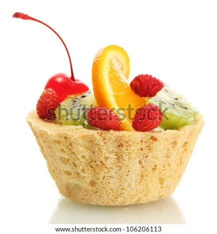 sweet cake with fruits isolated on white