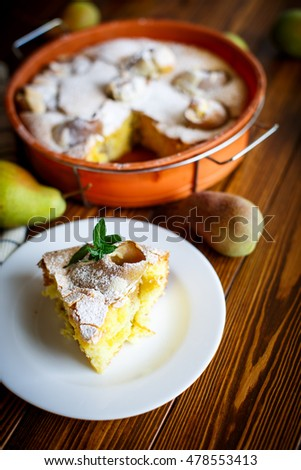 Sweet cake with pears