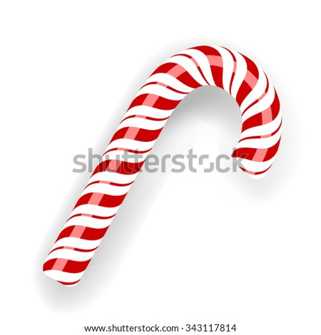 Sweet Candy Cane Isolated on White Background. Symbol of New Year