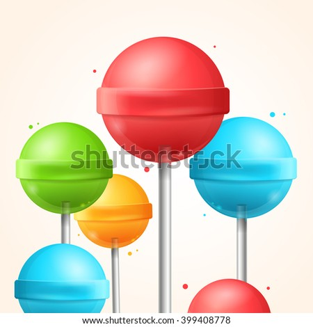 Sweet Candy Colorful Lollipops Background. illustration - stock photo