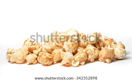 Sweet Caramel Popcorn on White background