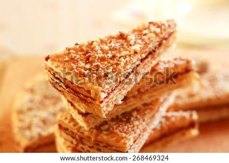 Sweet Caramel Waffle cakes - stock photo