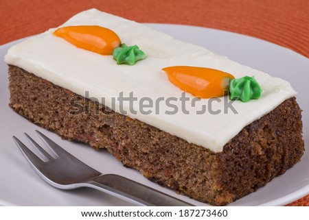 Sweet carrot cake on a plate - stock photo