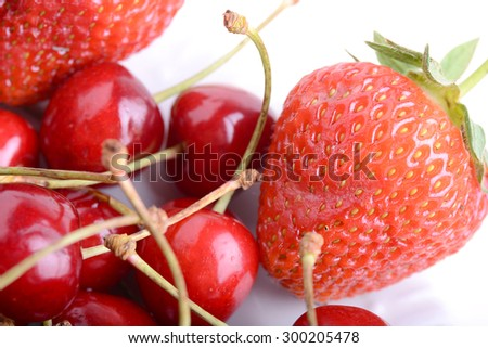 Sweet cherries and strawberries close up