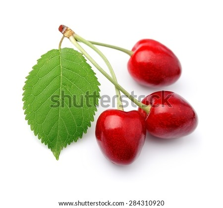 Sweet cherries fruit on white close up