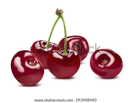 Sweet cherries group horizontal isolated on white background as package design element