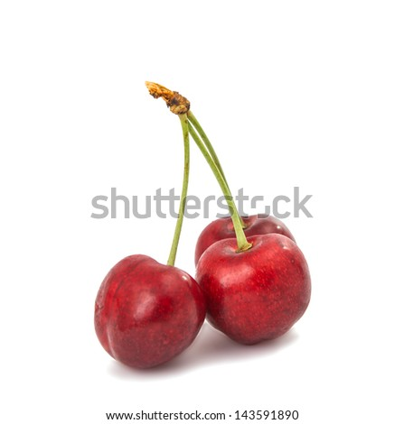 sweet cherries on a white background - stock photo