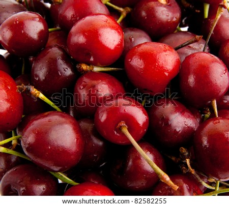 Sweet cherry. background. Group of Cherries forming a texture. cherry fruits.