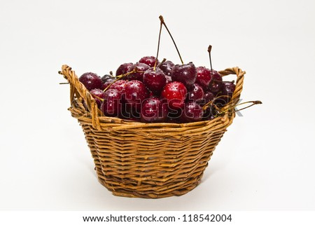 sweet cherry in basket full