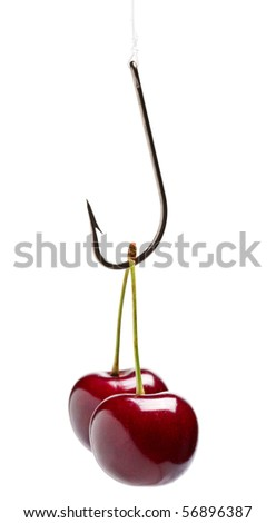 Sweet cherry on fishing hook ? trap concept - stock photo