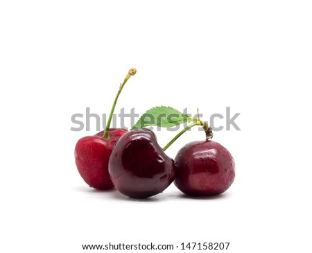 Sweet cherry on white background