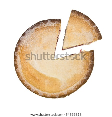 Sweet Cherry Pie isolated against white background - stock photo