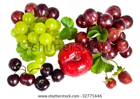 sweet cherry,plum and red grape on white background