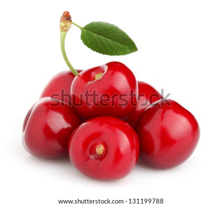 Sweet cherry with leaf - stock photo