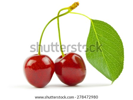 Sweet cherrys isolated on white background - stock photo